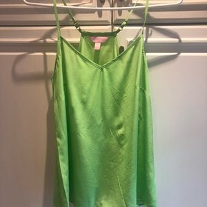 Lilly Pulitzer Dusk Lime Green Racerback Silk Top